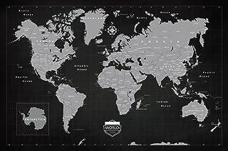 Emmel 高级世界旅行推销 60.96 x 91.44 厘米地图带别针 - 黑板风格和加框 - 使用优质可拼接画布和软木地图跟踪您的冒险旅程