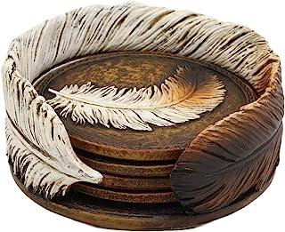 Ebros 乡村西式印度鹰羽毛雕刻杯垫支架,4 个圆形杯垫装饰套装复古颜色饮料杯马克杯 家庭和厨房餐厅装饰雕像 西南部