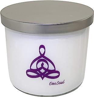 薰衣草香草香薰蜡烛带瑜伽设计   3 芯天然手工浇制高度香味蜡烛   14 盎司(约 396.8 克)50 小时   Zen Relaxation Spa 蜡烛
