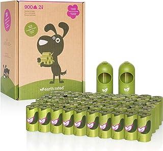 Earth Rated 狗狗粪便袋,900 个超厚和坚固的狗狗粪便袋,*防漏,薰衣草香味,60 卷,每卷 15 包,包尺寸 9 x 13 英寸,包括 2 个牵引绳分配器