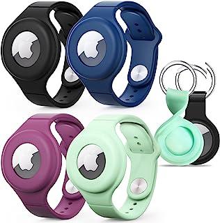 【4+2 件装】 Airtag 腕带,硅胶防水气标签手链表带适用于儿童和成人 - 4 件装,Airtag 钥匙扣保护套,带钥匙圈,适合宠物项圈,背包 - 2 件装