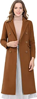 Allegra K 女式冬季缺口翻领双排扣外套长款外套
