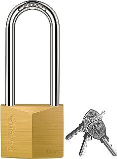 Puroma 1 件装钥匙挂锁防水实心黄铜锁,2.6 英寸(约 6.1 厘米)长锁具,适用于小屋的储物单元学校健身房储物柜、栅栏、工具箱、Hasp Storage