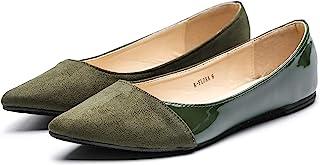 Mila Lady Flora 时尚麂皮漆皮 PU 尖头舒适一脚蹬芭蕾平底鞋 女式