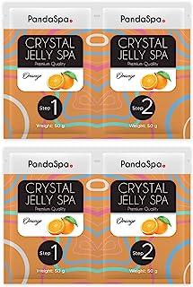 Pandaspa 水晶果冻 适用于修脚 水疗脚浴 浸泡和去角质*的脚 – 橙色(2 套)