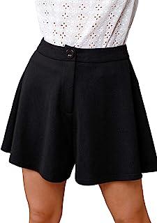 Milumia 女式高腰阔腿短裤工作办公室纽扣拉链纯色短裤