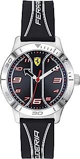 Ferrari 法拉利 男童 Academy 不锈钢石英手表,带硅胶表带,黑色,16(型号:0810024)