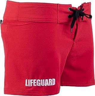 Lifeguard 氨纶沙滩裤 | 弹性红色女式救生衣泳裤