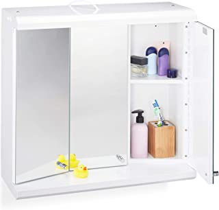 Relaxdays LED 镜柜,3 门,6 个隔层,插座,浴室,挂柜高 x 宽 x 深:58 x 60 x 23 厘米,白色