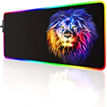 LED 灯鼠标垫 专业游戏系列 RGB 鼠标垫 大型豹纹 鼠标垫 彩色扩展鼠标垫 游戏动漫桌垫 RGB (狮子(23.6 x 13.8 x 0.1 英寸)