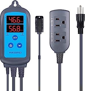 Inkbird 数字 Wi-Fi 湿度控制器 IHC-200 双插座预有线加湿器适用于蘑菇生长固化肉类爬行动物温室支持加湿器*机风扇 iOS&Andriod