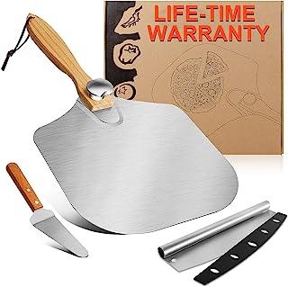 铝制披萨剥皮12 英寸 x 14 英寸(约 30.5 厘米 x 35.6 厘米) - 大型披萨铲,带木柄、披萨桨和披萨刀具套装,披萨烤箱配件适合自制烘焙