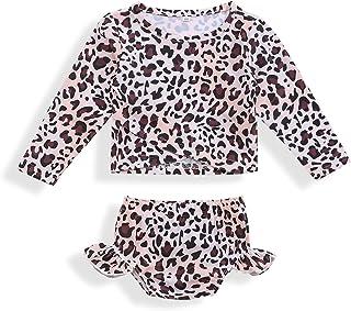 bilison 女婴泳装幼儿女孩豹纹泳装长袖 + 短裤比基尼泳装