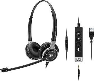 Sennheiser 森海塞尔 SC 665 USB (507257) - 双面商务耳机 | UC 优化和 Skype 商务认证 | 适用于手机、平板电脑、软电话和 PC (黑色)