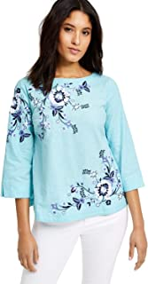 Charter Club 花卉刺绣亚麻混纺上衣,天使蓝 XS 码