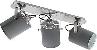 EGLO 天花板灯 Villabate 3 个火焰织物吸顶灯 3 盏灯,钢制天花板灯,织物,颜色:镍哑光,灰色,灯座:E27