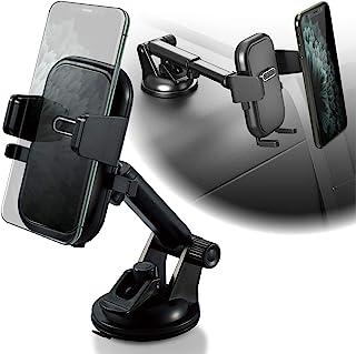 Elecom 汽车支架 Smaho 支架 [GATCH REHOL 只需放置你的智能手机] 带吸盘安装的长型脚部件(带辅助板)黑色 EC-SH03BK