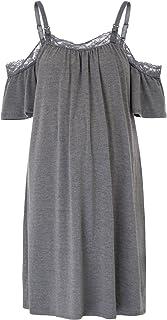 孕妇细肩带蕾丝拼接哺乳睡衣