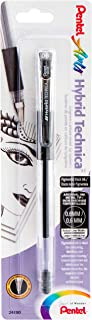 Pentel Arts Hybrid Technica 0.6 mm 笔,细笔尖,黑色墨水,1 包 (kn106bpa)