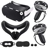 适用于 Oculus Quest 2 配件,Quest 2 VR 硅胶面罩,VR 外壳盖,Quest 2 触摸控制器手柄…