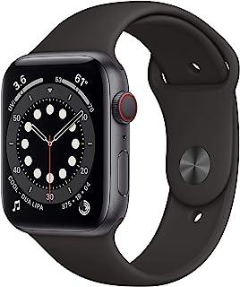 新款 Apple Watch 系列 6 (GPS + 蜂窝,44 毫米) - 太空灰色铝制外壳带黑色运动表带
