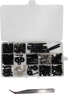 吉他螺丝套装,258 件(9 种)带弹簧,吉他五金件 Luthier 零件 DIY 套装适用于远/弦/SQ、开关、调谐器、机头、颈盘、拾音器、吉他带端别针、拾音器、桥黑色