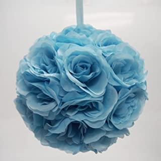 Firefly Imports Flower Kissing Balls Pomander Pom Pom Wedding Centerpiece, Blue