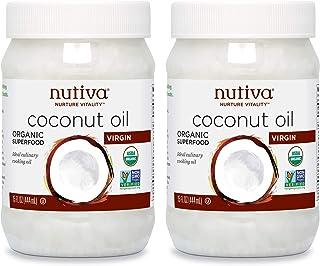 Nutiva 未经精制冷压初榨椰子油,来自新鲜、可持续养殖的椰子,每罐15盎司(444ml),2罐装