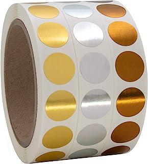 1.91 厘米金色、银色、青铜圆形彩色编码圆点标签一卷,3000 张贴纸,每卷 1000 张贴纸直径 12.7 厘米。