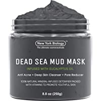 New York Biology 死海泥面膜,适用于面部和身体,含有桉树 - 水疗品质祛痘、黑头和油性皮肤 - 紧致肌肤…