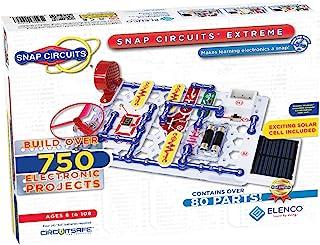 Elenco Snap Circuits Extreme SC-750 卡扣式电子探测套件| 750多件项目| 全彩项目手册| 80多个Snap Circuits零件| STEM益智玩具 适用于8岁以上儿童