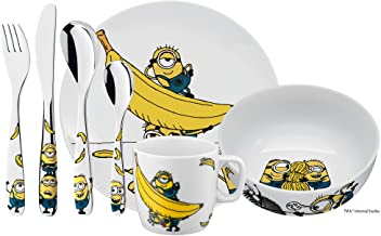 WMF 福腾宝 小黄人儿童餐具 带儿童餐具7件套 适合3岁以上儿童 Cromargan 不锈钢抛光 可用洗碗机清洗 颜色和食品级