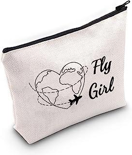 G2TUP Fly Girl 化妆包飞行员化妆包飞机服务员礼品小屋工作人员礼品管理员化妆旅行袋带拉链, 飞舞的女孩,