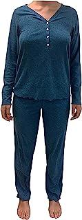 Eddie Bauer 女士睡衣 2 件套长袖亨利裤(青*,M 码)