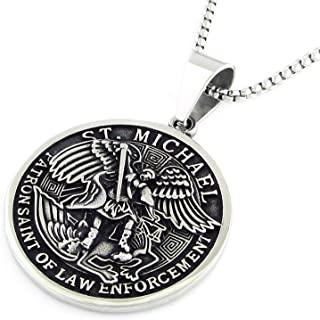 AYHEASFL Saint Michael The Archangel 项链吊坠链天主教宗教珠宝吊坠护身符勋章圣男士项链