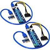 FebSmart PCI-E 转接器 适用于比特币 Litecoin ETH 硬币挖矿 6 针驱动的 PCIE 延长线…