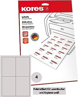 Kores薄膜标签,白色激光+复印机,105.0 x 148.0毫米,10张,40张标签,抗撕裂,防水,可清洗