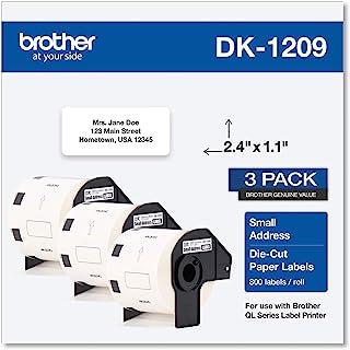 Brother Genuine DK-1209 小型地址纸标签卷,模切纸标签,每卷 800 个标签,白色