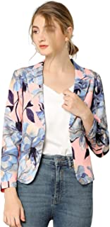 Allegra K 女式前开襟办公室露脐花卉图案西装外套 粉红色 Large