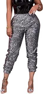SCORP 女式闪亮亮片长款铅笔裤闪亮高腰晚装长裤