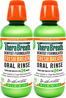 TheraBreath 凯斯博士 定制 清新口气漱口水-温和薄荷味,16盎司(两瓶装)