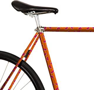MOOXIBIKE 粉色西瓜橙色迷你自行车膜,带图案,适用于公路自行车、山地车、固定装置、荷兰自行车、城市自行车、滑板车、踏板车、大约 13 厘米框架周长。