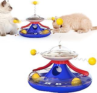 YLOKO Cat Tracks 猫咪玩具,2 层趣味猫玩具滚轮,带食物泄漏装置 - 互动猫球玩具满足猫咪的狩猎、追逐和锻炼需求