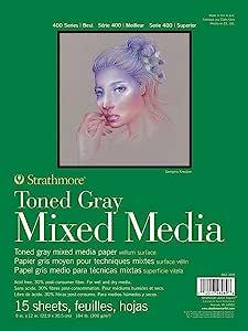 "Strathmore 400 系列 Toned Mixed Media Pad 胶水床,每张 15 张 灰色 9"" x 12"" 462-309"