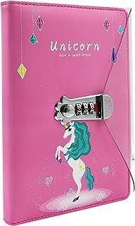 卡通独角兽笔记本儿童青少年女孩可锁定日记日记书写板,带密码锁 A5