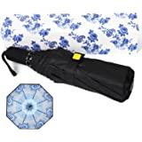 Kobold 8 罗纹伞,旅行伞绿色花朵中国风格双层设计,坚固的紫外线防护,防水