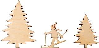Rayher 46586505 木制装饰滑雪者,FSC Mix Cred,自然色,3件套,5.5-10厘米,厚度6毫米,SB盒1套,普通款