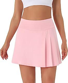 Persit 女式高腰百褶网球裙高尔夫跑步锻炼运动短裙带口袋和短裤