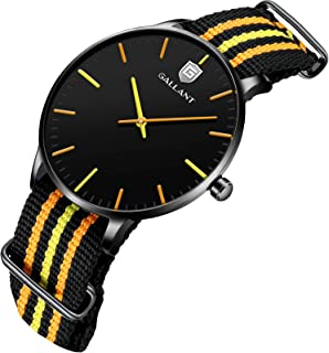 男式手表 石英手表 尼龙搭扣表带 极简防水手表 适合男士青少年礼物 - 橙色/蓝色/白色/黑色