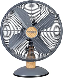 """Tower T610000 Scandi Metal Desk Fan with 3 Speeds, Automatic Oscillation, 12"""", 35W, Grey and Wood Effect"""